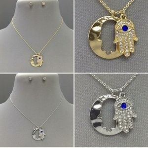 Jewelry - Gold and silver Hamsa hand pendant dainty necklace